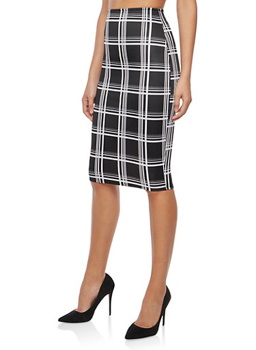 Windowpane Print Pencil Skirt,BLACK/WHITE,large