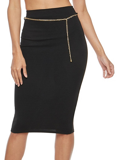 Crepe Knit Chain Belt Pencil Skirt,BLACK,large