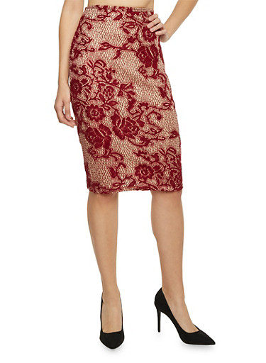 Lace Midi Pencil Skirt,BURGUNDY/NUDE,large