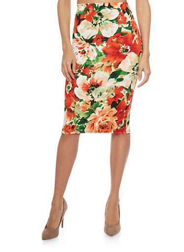 Floral Print Pencil Skirt,GRN/ORANGE/WHT 7047,large