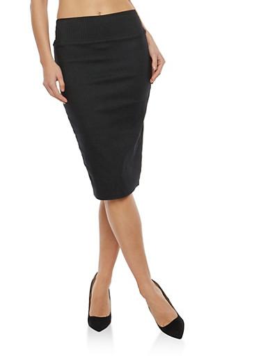 Pinstripe Pencil Skirt,BLACK/IVORY,large