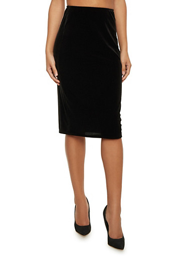 Velvet Midi Pencil Skirt,BLACK,large