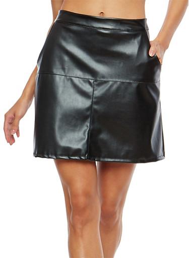 Faux Leather 2 Pocket Mini Skirt,BLACK,large