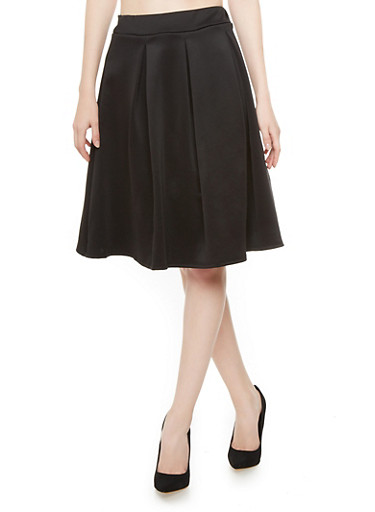 Solid Scuba Skirt,BLACK,large