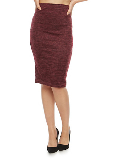 Soft Knit Pencil Skirt,BURGUNDY,large