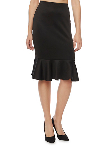 Pencil Skirt with Peplum Hem,BLACK,large