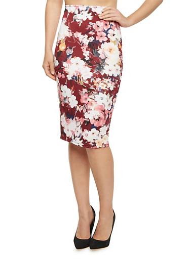 Pencil Skirt in Floral Print,BURG/MAUVE,large
