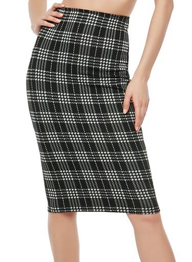 Plaid Soft Knit Pencil Skirt,BLACK/WHITE,large