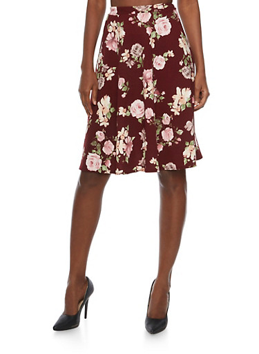Midi Skater Skirt in Floral Print,BURGUNDY,large