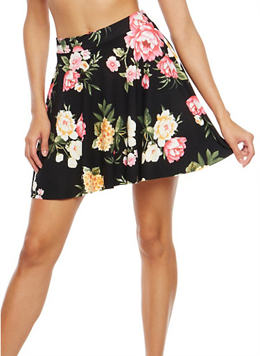 Soft Knit Floral Print Mini Skirt,BLACK/PINK,large