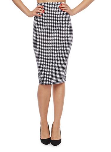 Houndstooth Print Pencil Skirt,BLACK/WHITE,large