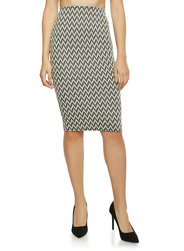 Midi Pencil Skirt in Chevron Knit,BLACK/GREY,large
