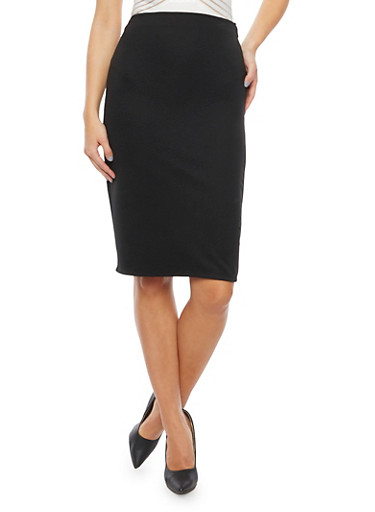 Pencil Skirt in Ribbed Knit,BLACK,large