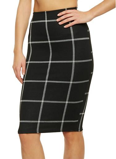Knit Plaid Pencil Skirt,BLACK/WHITE,large