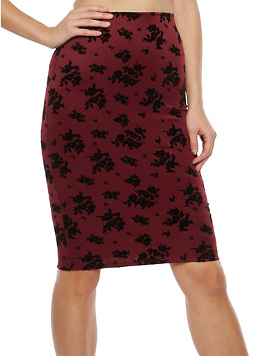 Floral Velvet Pencil Skirt,BURGUNDY,large