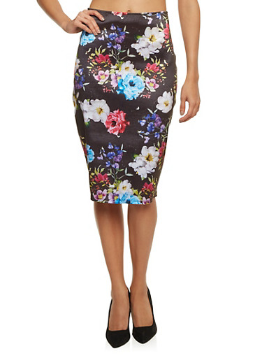 Coated Pencil Skirt in Floral Print,BLACK/FUSCHIA,large