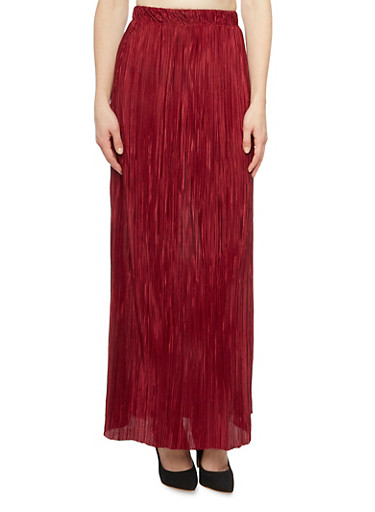 Maxi Skirt in Pleated Knit,BURGUNDY,large
