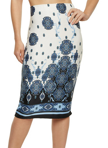 Printed Midi Pencil Skirt,NAVY,large