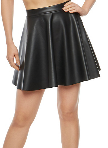Faux Leather Mini Skater Skirt,BLACK,large