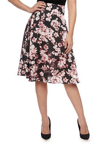 A Line Skirt in Floral Print,BLACK/MAUVE,large