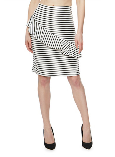 Striped Mid Length Pencil Skirt with Ruffle Detail,WHT-BLK,large