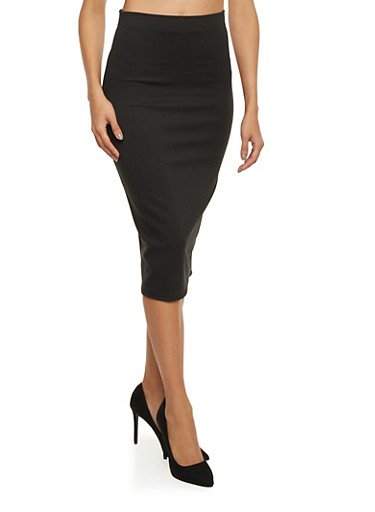 Basic Midi Pencil Skirt,BLACK,large