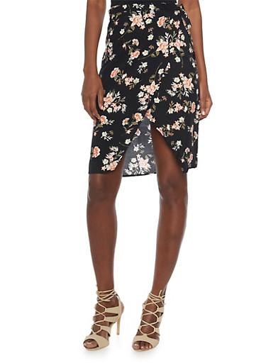Floral Wrap Skirt,BLACK,large