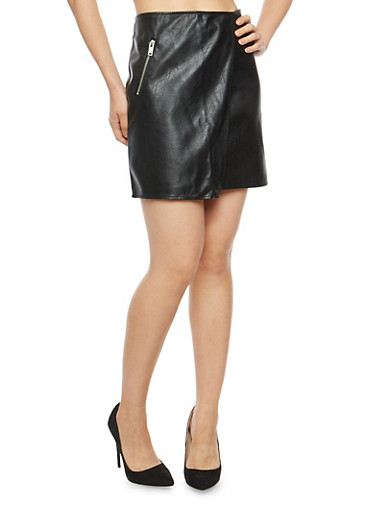Faux Leather Side Zip Mini Skirt,BLACK,large