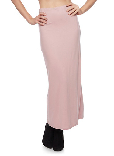 Solid Maxi Skirt,MAUVE,large