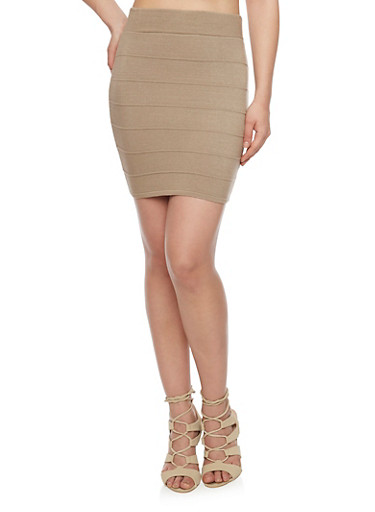 Mini Bandage Pencil Skirt,TAUPE,large