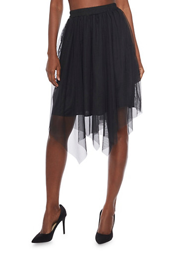 Solid Skater Skirt with Tulle Overlay,BLACK,large