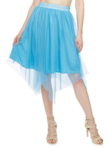 Solid Skater Skirt with Tulle Overlay,DENIM,large