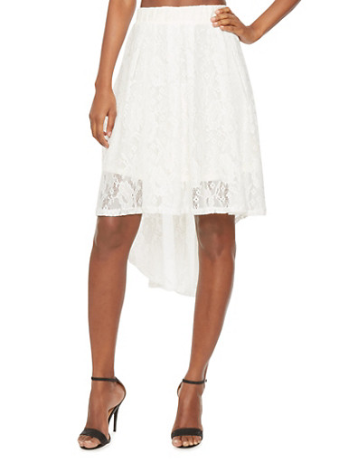 High-Low Lace Skirt,WHITE,large
