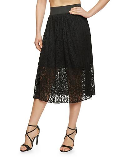 Half Lined Pleated Lace Elastic Waist Skirt,BLACK,large
