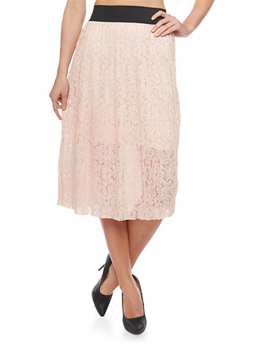 Half Lined Pleated Lace Elastic Waist Skirt,BLUSH,large