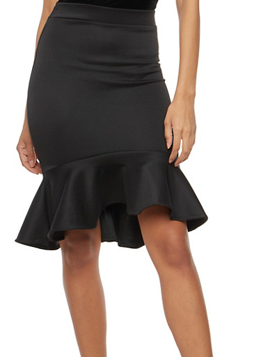 Peplum Hem Pencil Skirt,BLACK,large