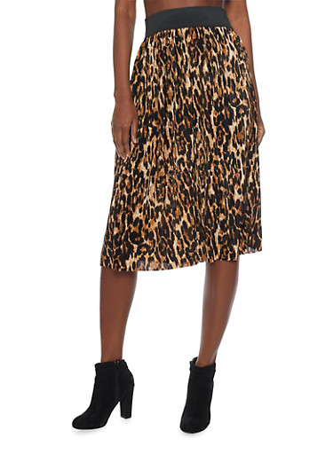 Pleated Leopard Print Midi Skirt,BROWN,large