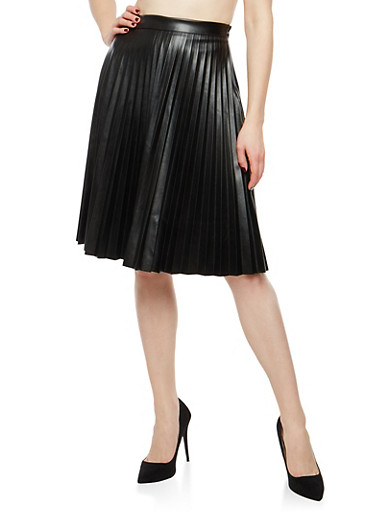 Pleated Faux Leather Skirt,BLACK,large