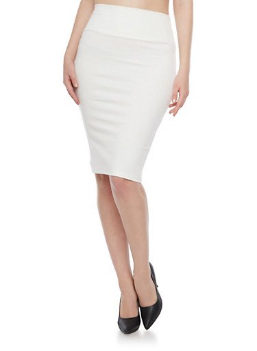 Midi Pencil Skirt with Back Slit,IVORY,large