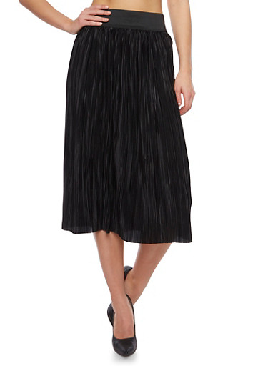Midi Skirt with Micro Pleats,BLACK,large