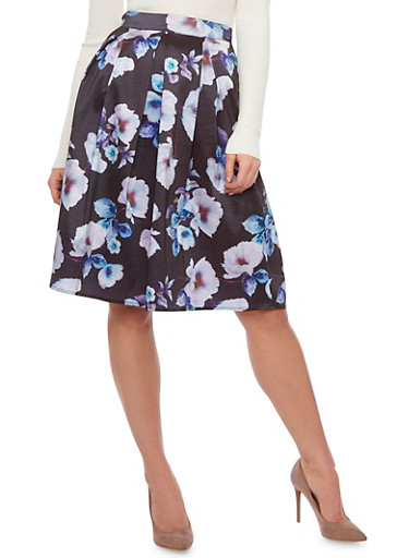 Pleated Midi Skirt with Floral Print,BLACK,large