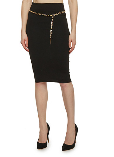 Solid Midi Pencil Skirt with Chain Link Belt,BLACK,large