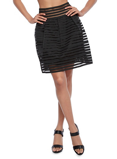Shadow Stripe Skater Skirt With Pearl Accent Zipper,BLACK,large