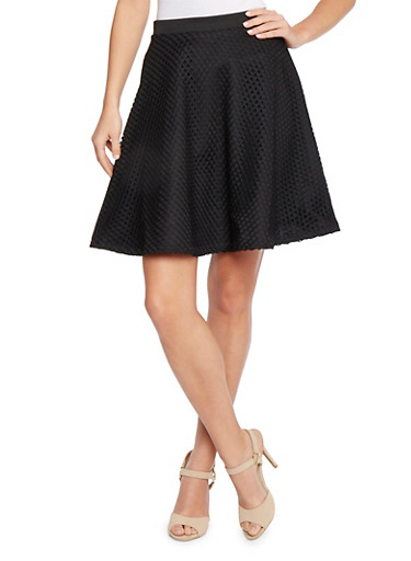Lined Mesh Skater Skirt,BLACK,large