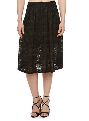Lace A Line Skirt with Elasticized Waist,BLACK,large