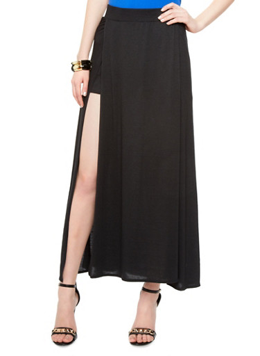 maxi skirt with two slits rainbow