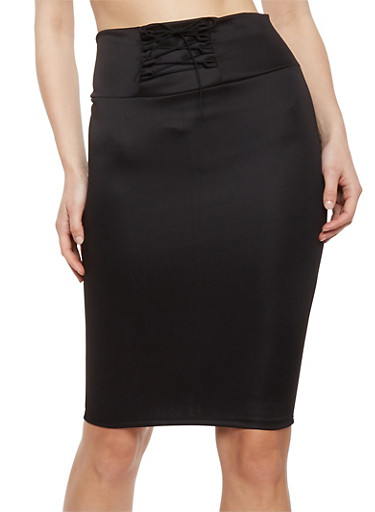 Solid Pencil Skirt with Lace Up Detail,BLACK,large