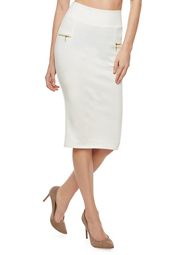 Zipper Accented Pencil Skirt,IVORY,large