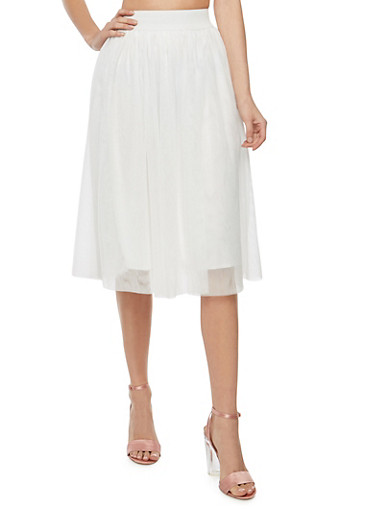 Tulle Mid Length A Line Skirt,IVORY,large
