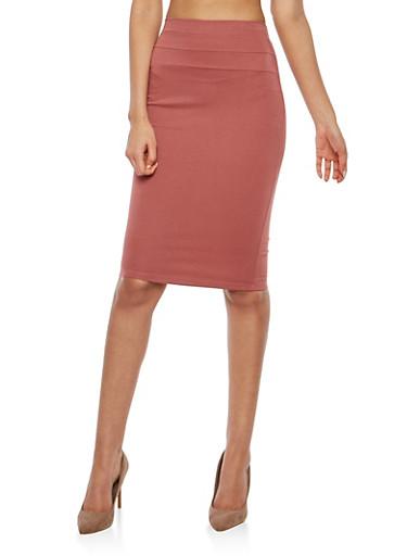 Ponte Pencil Skirt,MAUVE,large